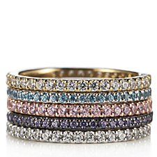 Diamonique 3ct tw Set of 5 Coloured Stacking Rings Sterling Silver