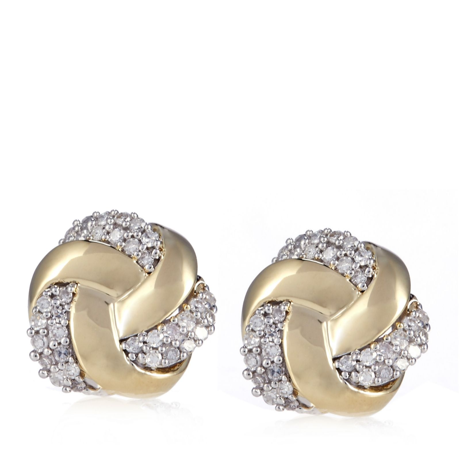 0.25ct Diamond Knot Stud Earrings 9ct Gold