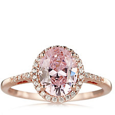 Diamonique 2.1ct tw Simulated Gemstone Rose Gold Ring Sterling Silver