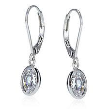 Epiphany Platinum Clad Diamonique 3ct tw Bezel Drop Earrings Sterling Silver