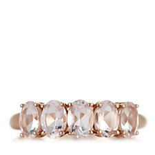 664885 - 1.6ct Morganite 5 Stone Oval Ring 9ct Rose Gold