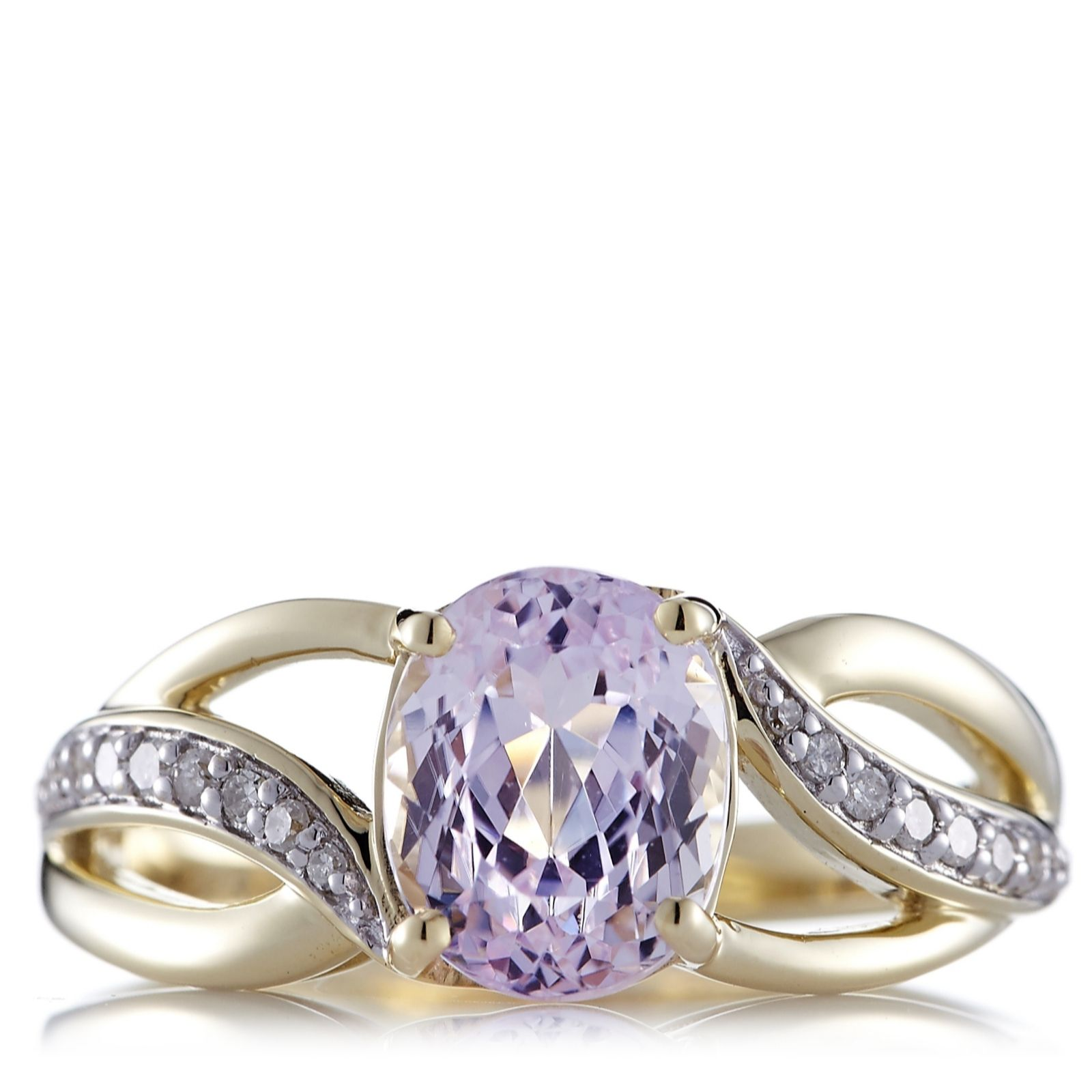 2.2ct Kunzite & Diamond Ring 9ct Gold