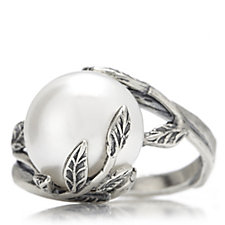 Or Paz Pearl Solitaire Leaf Detail Ring Sterling Silver