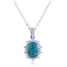 Diamonique 0.7ct tw Simulated Opal Pendant & Chain Sterling Silver