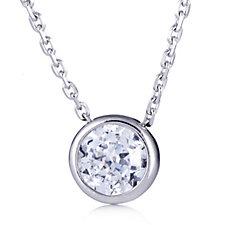 Epiphany Platinum Clad Diamonique 1.5ct tw Pendant & 45cm Chain Sterling Silver