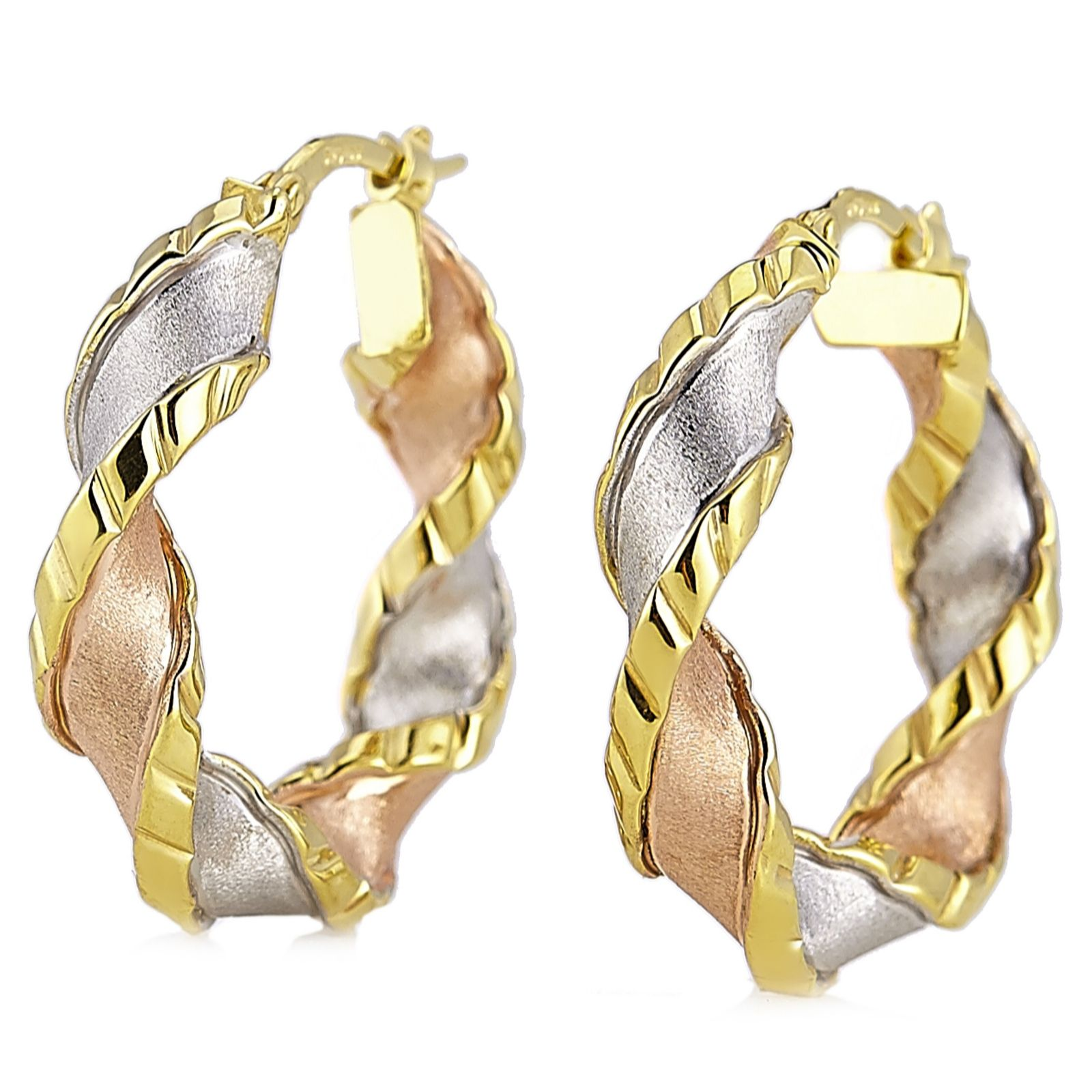 9ct Gold 3 Colour Twist Hoop Creole Earrings Page 1 Qvc Uk