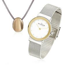 Skagen Ladies Stainless Steel Watch & Necklace Set