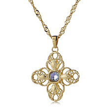 Bella Vita 18ct Gold Plated Cross Pendant & 80cm Chain Bronze