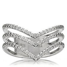 Diamonique 0.6ct tw Chevron Ring Sterling Silver