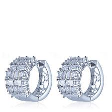 Diamonique by Tova 3.2ct tw Snuggie Hoop Earrings Sterling Silver