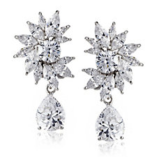Diamonique by Tova 17ct tw Oscar Drop Earrings Sterling Silver