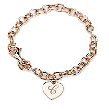 Veronese Classic Heart Initial Charm 20cm Bracelet Sterling Silver