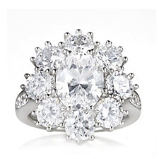 664789 - Michelle Mone for Diamonique 7.1ct tw Oval Cut Flower Ring Sterling Silver
