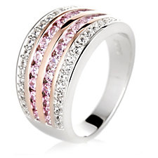 Diamonique 0.9ct tw Pink & White Band Ring Sterling Silver