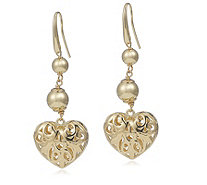 Bella Vita 18ct Gold Plated Openwork Heart Drop Earrings Bronze - 664490
