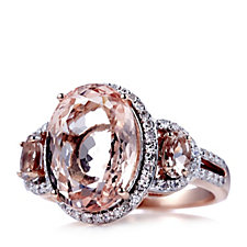 664890 - 6.3ct Morganite Oval Cocktail Ring 9ct Rose Gold