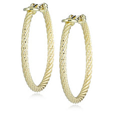 Veronese Classic Rope Hoop Earrings Sterling Silver