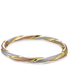Veronese 18ct Gold Plated Tri Colour Bangle Sterling Silver