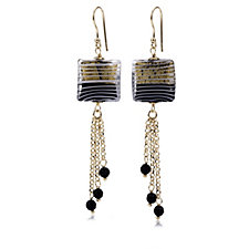 Murano Glass Striped Square Drop Earrings Sterling Silver