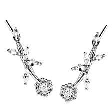Diamonique 1.9ct tw Flower Earclimber Earrings Sterling Silver