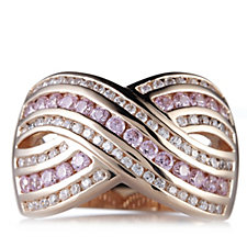 Diamonique 1.4ct tw Overlay Band Ring Rose Gold Plated Sterling Silver