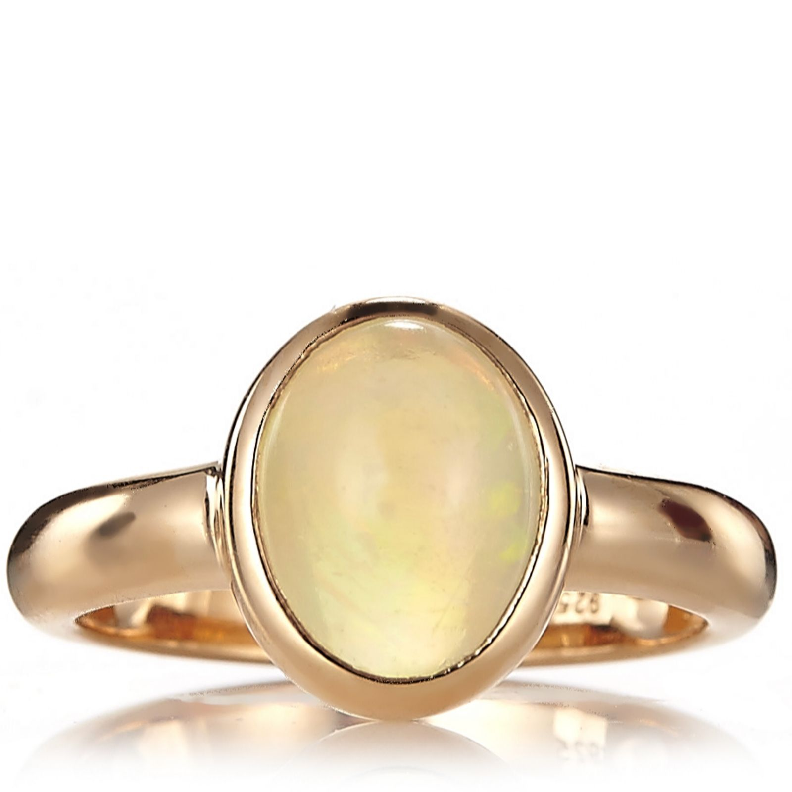Ethiopian Opal Ring Rose Gold Vermeil Sterling Silver
