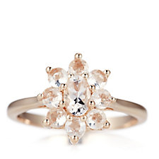 1.4ct Morganite Flower Ring Rose Gold Vermeil Sterling Silver