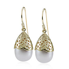Honora 8-10mm White Oval Cultured Pearl Drop Earring 14ct Gold