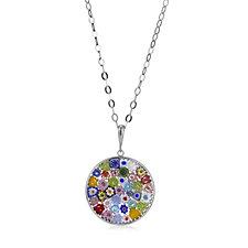 Murano Glass Millefiori Disc Pendant & 60cm Necklace Sterling Silver