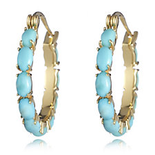 698193 - American Turquoise Cabochon Hoop Earrings Sterling Silver