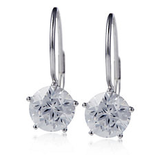 Diamonique 4ct tw Star Cut Leverback Earrings Sterling Silver