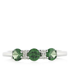 Sogni d'Oro 0.75ct 3 Stone Round Tsavorite Ring 9ct White Gold