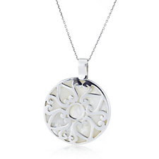 Suarti Collection Mother of Pearl Filigree Pendant & 45cm Chain Sterling Silver