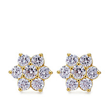 Diamonique 1.50ct tw Cluster Stud Earrings Sterling Silver
