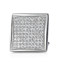 Diamonique 0.8ct tw Men's Cuff Links Sterling Silver
