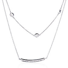 0.1ct Diamond Double Layered 45cm Necklace Sterling Silver