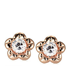 Diamonique 0.5ct tw Flower Stud Earrings Rose Gold Plated Sterling Silver