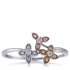 662396 - 0.1ct Diamond Trio Flower Ring Sterling Silver