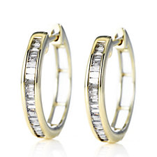 0.25ct Radiance Diamond Baguette Cut Huggie Earrings 9ct Gold