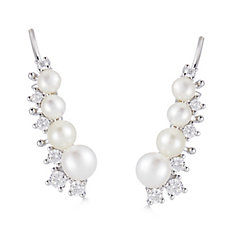 Diamonique 0.3ct tw CFW Pearl Ear Climber Earrings Sterling Silver