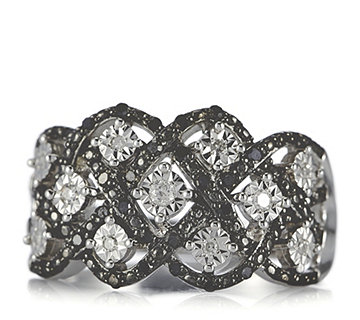 0.25ct Black & White Diamond Honeycomb Ring Sterling Silver - 690096