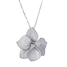 Diamonique Couture 5.9ct tw Pave Flower Pendant & Chain Sterling Silver