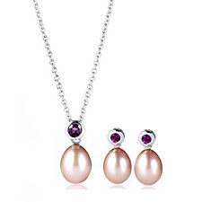 Honora Breast Cancer Care Pink Pearl Pendant & Earrings Sterling Silver