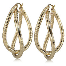 Bella Vita 18ct Gold Plated Double Hoop Earrings Bronze