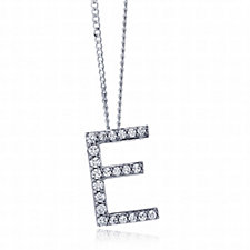 Diamonique 0.1ct tw-0.2ct tw Initial Pendant & 45cm Chain Sterling Silver