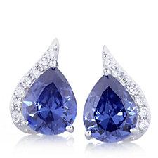 Diamonique 5.1ct tw Simulated Tanzanite Pear Cut Stud Earrings Sterling Silver