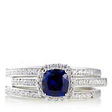 628498 - Diamonique 2ct tw Simulated Sapphire Stacker Rings Sterling Silver