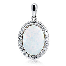Diamonique 0.3ct tw Oval Simulated Opal Pendant & Chain Sterling Silver