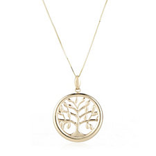 9ct Gold Tree Of Life Pendant & 60cm Chain