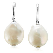 Honora 16mm Cultured Baroque Pearl Drop Earrings Sterling Silver